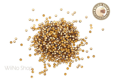 2mm Matte Gold Round Dome Metal Studs Nail Art - 100 pcs