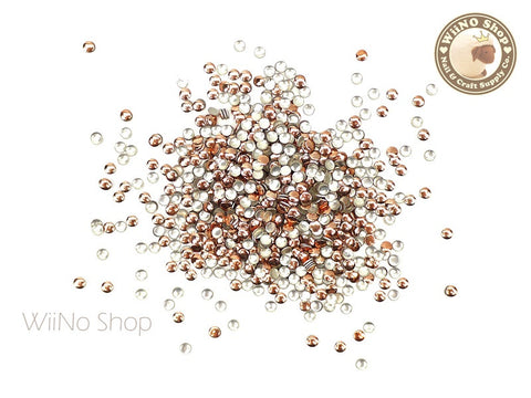2mm Rose Gold Round Metal Studs Nail Art - 100 pcs
