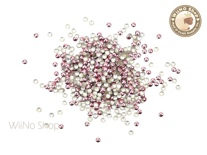 2mm Pink Round Metal Studs - 100 pcs