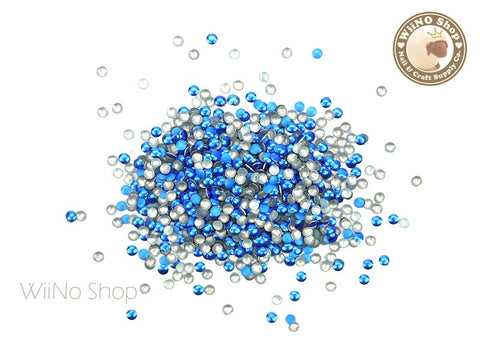 2mm Blue Mixed Round Metal Studs Nail Art - 100 pcs