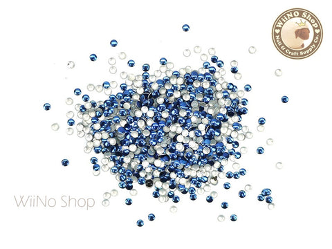 2mm Dark Blue Round Metal Studs Nail Art - 100 pcs