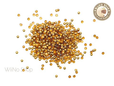 2mm Gold Round Dome Metal Studs Nail Art - 100 pcs