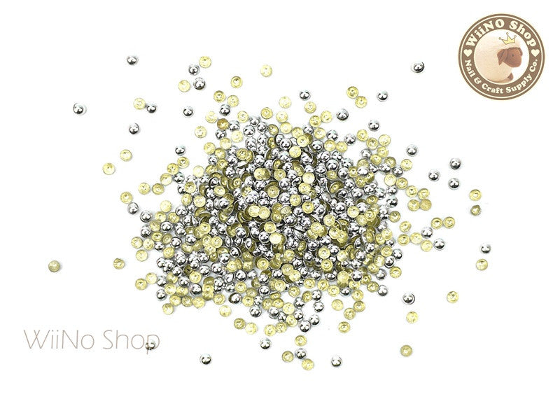 2mm Silver Round Dome Metal Studs - 100 pcs