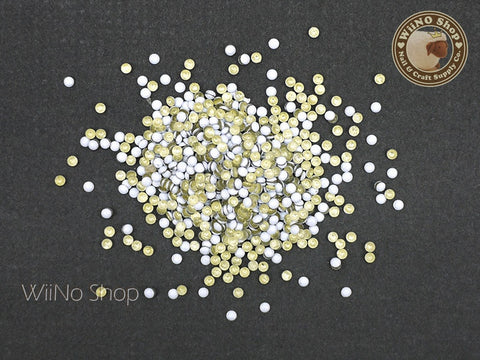 2mm White Round Dome Metal Studs - 100 pcs
