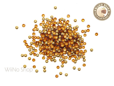 3mm Gold Round Dome Metal Studs Nail Art - 100 pcs