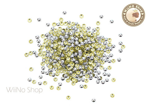 3mm Silver Round Dome Metal Studs Nail Art - 100 pcs