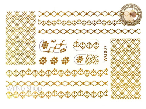 WG007 Gold Metallic Nail Jewelry Tattoos - 1 pc