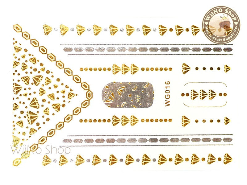 WG016 Gold Metallic Nail Jewelry Tattoos - 1 pc