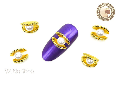 Pearl in Clam Shell 3D Nail Metal Charm - 2 pcs