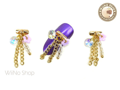 Flower & Chain Nail Art Dangle Charm - 2 pcs
