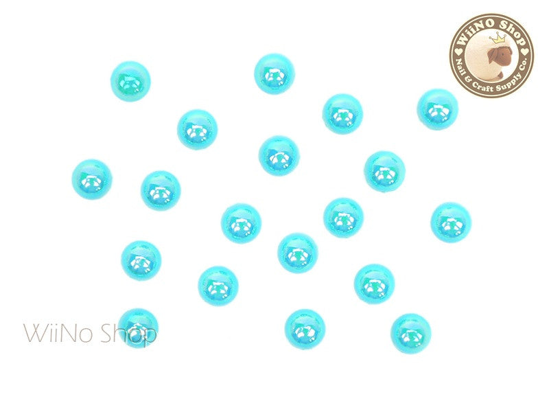 5mm AB Metallic Blue Half Round Flat Back Acrylic Cabochon Nail Art - 15 pcs