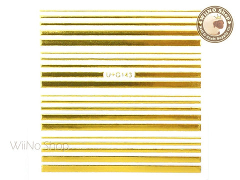 Shine Gold Stripe Line Adhesive Nail Art Sticker - 1 pc (U+G143)