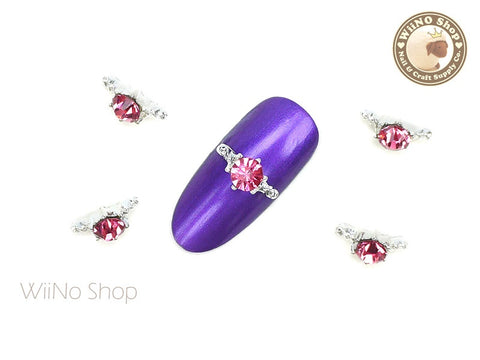 Pink Diamond Silver Ring Nail Metal Charm - 2 pcs