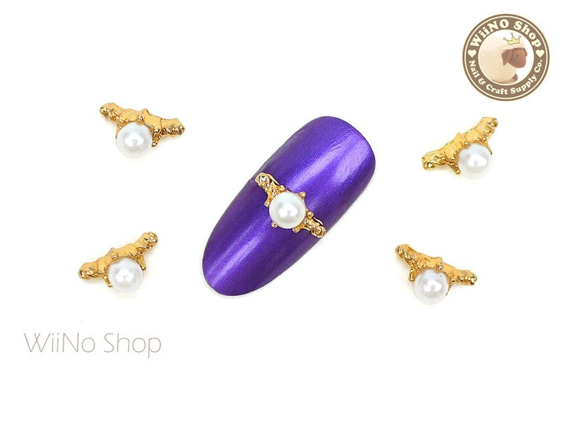 Pearl Gold Ring Nail Metal Charm - 2 pcs