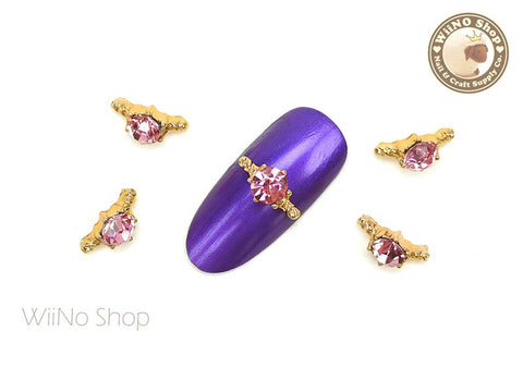 Pink Diamond Gold Ring Nail Metal Charm - 2 pcs
