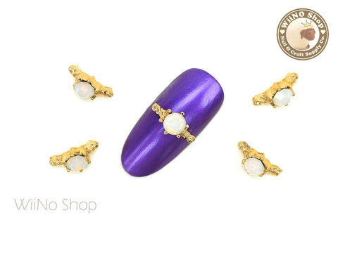 Opal Gold Ring Nail Metal Charm - 2 pcs