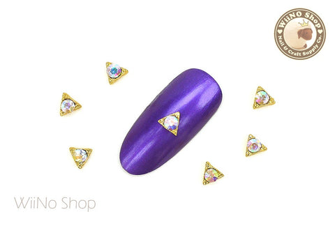 Gold Triangle with AB Crystal Nail Art Metal Charm - 2 pcs