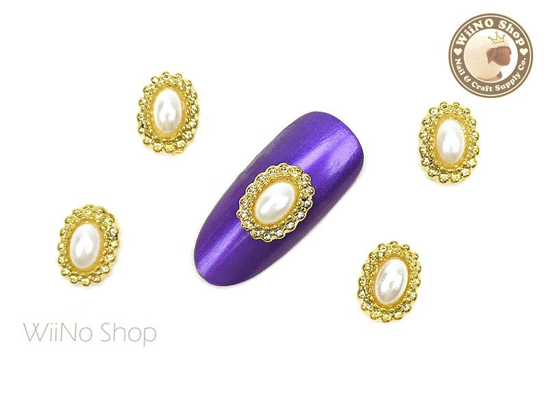 Gold Oval Pearl Beads Frame Nail Metal Charm - 2 pcs