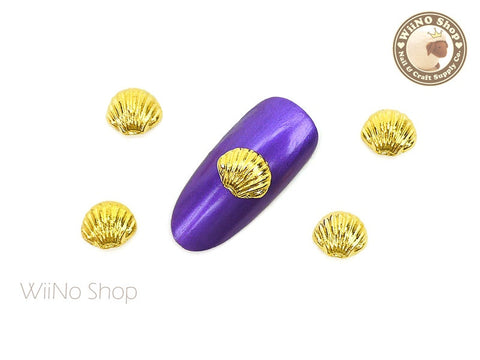 8mm Gold Seashell Nail Metal Charm - 2 pcs