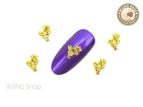 Gold Coral Nail Metal Charm - 2 pcs (CR02G)