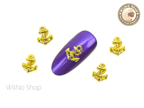 Gold Anchor Nail Metal Charm - 2 pcs (CAN05G)