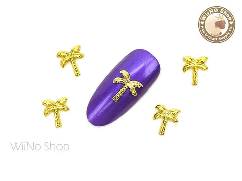 Golden Palm Tree Nail Metal Charm - 2 pcs