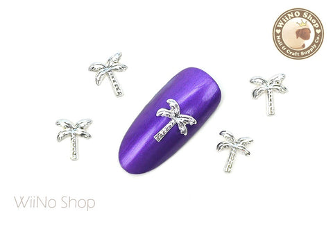 Silver Palm Tree Nail Metal Charm - 2 pcs