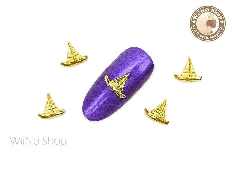 Gold Sailboat Nail Metal Charm - 2 pcs