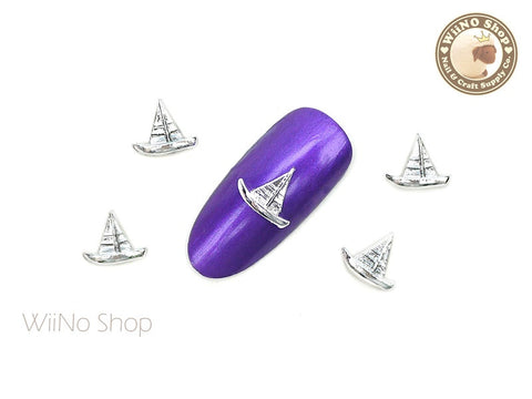 Silver Sailboat Nail Metal Charm - 2 pcs