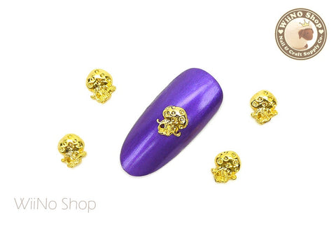 Gold Jellyfish Nail Metal Charm - 2 pcs