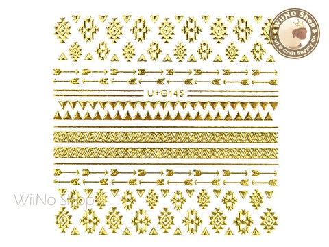 Gold Arrow Geometric Pattern Adhesive Nail Art Sticker - 1 pc (U+G145)