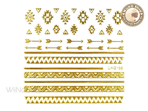 Gold Geometric Tribal Pattern Adhesive Nail Art Sticker - 1 pc (U+G155)