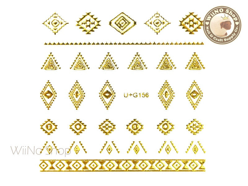 Gold Tribal Pattern Adhesive Nail Art Sticker - 1 pc (U+G156)