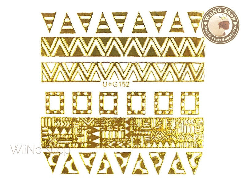 Gold Geometric Pattern Adhesive Nail Art Sticker - 1 pc (U+G152)