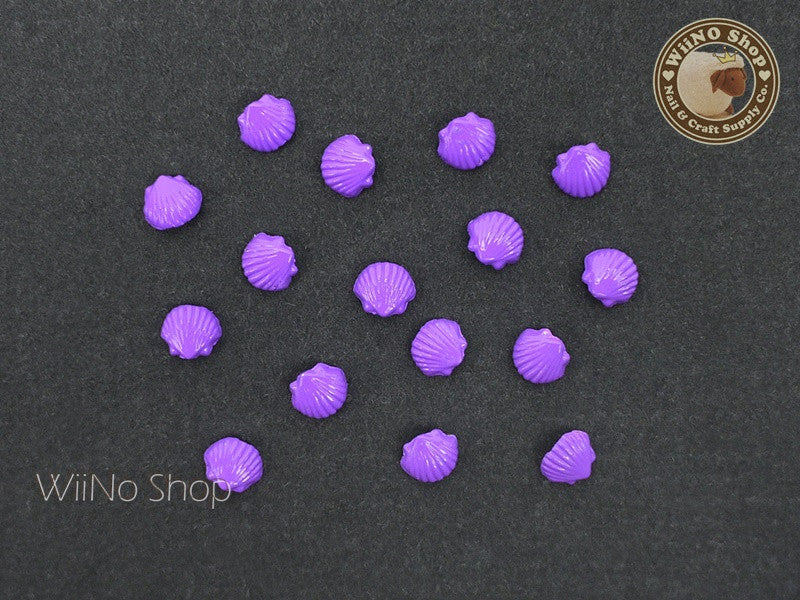 5mm Purple Seashell Nail Metal Charm - 4 pcs