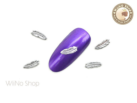 Silver Small Feather Nail Metal Charm - 2 pcs (FT03S)