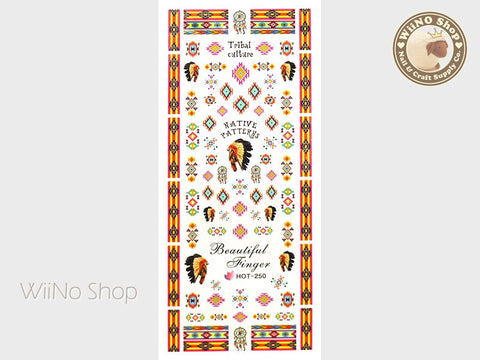 Yellow Native Tribal Pattern Water Slide Nail Art Decals - 1pc (HOT-250)