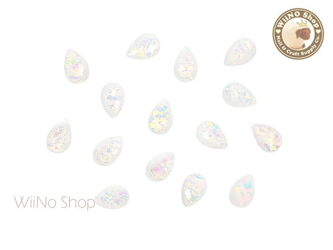 6 x 9mm White Rainbow Ice Drop Acrylic Rhinestone Cabochon - 10 pcs