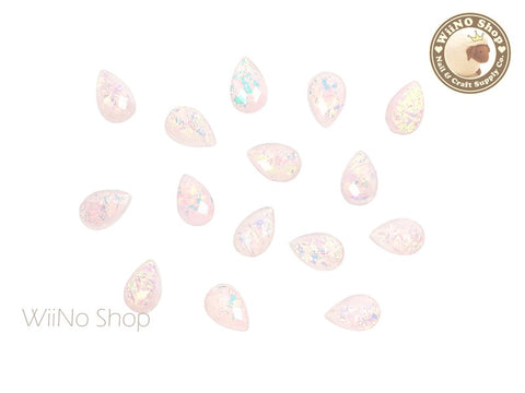 6 x 9mm Light Pink Rainbow Ice Drop Acrylic Rhinestone Cabochon - 10 pcs