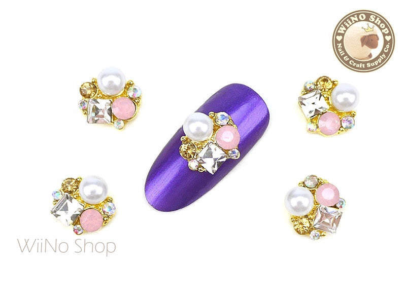 Pink Opal Pearl Cluster Nail Metal Charm - 2 pcs