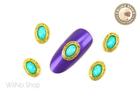 Turquoise Rhinestone Oval Frame Nail Metal Charm - 2 pcs