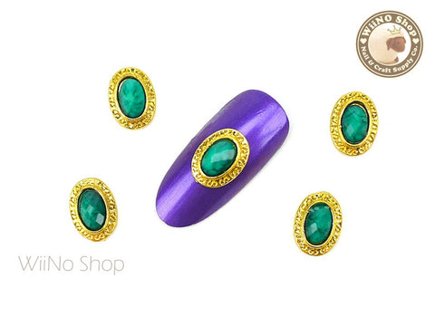 Green Turquoise Rhinestone Oval Frame Nail Metal Charm - 2 pcs