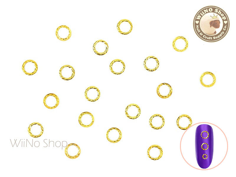 Gold Round Twisted Frame Metal Studs - 10 pcs (3mm/4mm/5mm)
