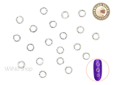 Silver Round Twisted Frame Metal Studs - 10 pcs (3mm/4mm/5mm)