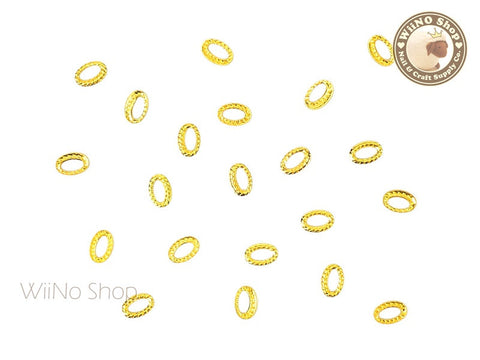 3 x 4mm Gold Oval Twisted Frame Metal Studs - 10 pcs