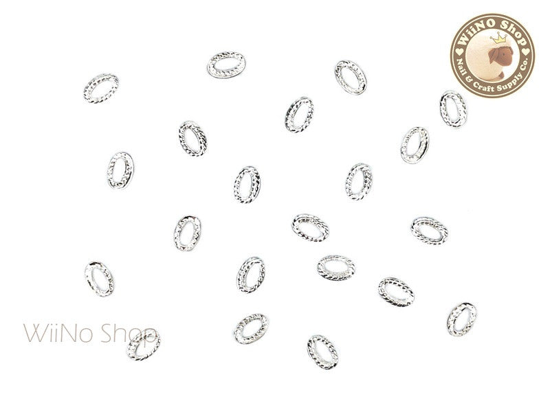 3 x 4mm Silver Oval Twisted Frame Metal Studs - 10 pcs