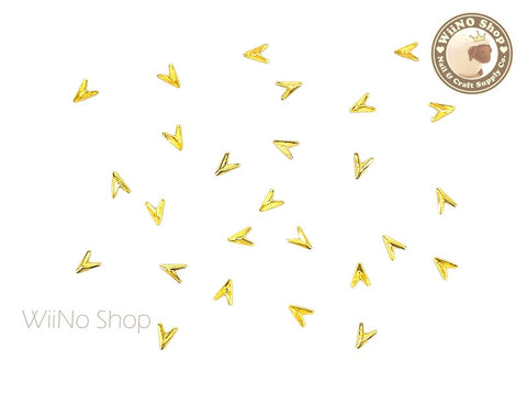 Gold Mini Arrowhead Nail Art Metal Studs - 10 pcs