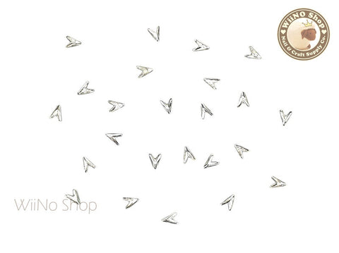 Silver Mini Arrowhead Nail Art Metal Studs - 10 pcs