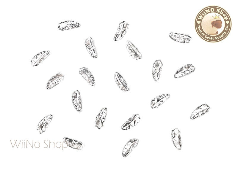 Silver Small Feather Metal Studs - 10 pcs
