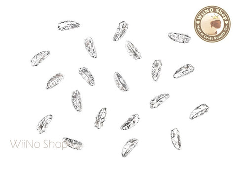 Silver Small Feather Nail Art Metal Studs - 10 pcs